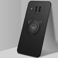 Silikon Hülle Handyhülle Ultra Dünn Schutzhülle Flexible Tasche Silikon mit Magnetisch Fingerring Ständer T03 für Xiaomi Mi 10T Lite 5G Schwarz