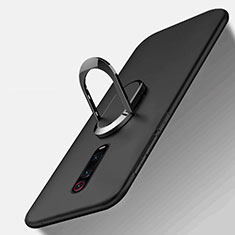 Silikon Hülle Handyhülle Ultra Dünn Schutzhülle Flexible Tasche Silikon mit Magnetisch Fingerring Ständer T03 für Xiaomi Mi 9T Pro Schwarz