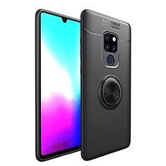 Silikon Hülle Handyhülle Ultra Dünn Schutzhülle Flexible Tasche Silikon mit Magnetisch Fingerring Ständer T04 für Huawei Mate 20 X 5G Schwarz