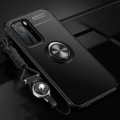 Silikon Hülle Handyhülle Ultra Dünn Schutzhülle Flexible Tasche Silikon mit Magnetisch Fingerring Ständer T04 für Huawei P40 Pro Schwarz