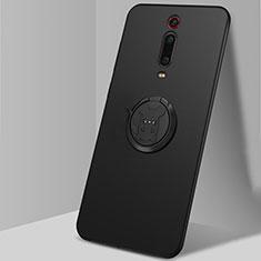 Silikon Hülle Handyhülle Ultra Dünn Schutzhülle Flexible Tasche Silikon mit Magnetisch Fingerring Ständer T04 für Xiaomi Mi 9T Pro Schwarz