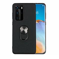 Silikon Hülle Handyhülle Ultra Dünn Schutzhülle Flexible Tasche Silikon mit Magnetisch Fingerring Ständer T05 für Huawei P40 Pro Schwarz