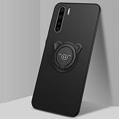 Silikon Hülle Handyhülle Ultra Dünn Schutzhülle Flexible Tasche Silikon mit Magnetisch Fingerring Ständer T05 für Oppo Find X2 Lite Schwarz