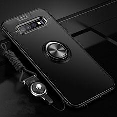 Silikon Hülle Handyhülle Ultra Dünn Schutzhülle Flexible Tasche Silikon mit Magnetisch Fingerring Ständer T05 für Samsung Galaxy S10 Plus Schwarz