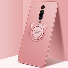 Silikon Hülle Handyhülle Ultra Dünn Schutzhülle Flexible Tasche Silikon mit Magnetisch Fingerring Ständer T05 für Xiaomi Mi 9T Pro Rosa