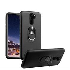 Silikon Hülle Handyhülle Ultra Dünn Schutzhülle Flexible Tasche Silikon mit Magnetisch Fingerring Ständer T05 für Xiaomi Redmi Note 8 Pro Schwarz