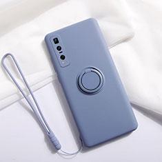 Silikon Hülle Handyhülle Ultra Dünn Schutzhülle Flexible Tasche Silikon mit Magnetisch Fingerring Ständer T06 für Oppo Find X2 Pro Grau