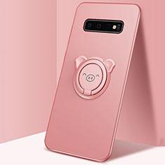 Silikon Hülle Handyhülle Ultra Dünn Schutzhülle Flexible Tasche Silikon mit Magnetisch Fingerring Ständer T06 für Samsung Galaxy S10 Plus Rosa