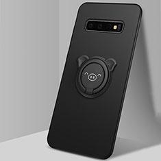 Silikon Hülle Handyhülle Ultra Dünn Schutzhülle Flexible Tasche Silikon mit Magnetisch Fingerring Ständer T06 für Samsung Galaxy S10 Schwarz