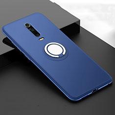 Silikon Hülle Handyhülle Ultra Dünn Schutzhülle Flexible Tasche Silikon mit Magnetisch Fingerring Ständer T06 für Xiaomi Mi 9T Pro Blau