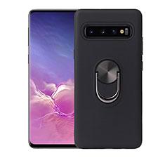 Silikon Hülle Handyhülle Ultra Dünn Schutzhülle Flexible Tasche Silikon mit Magnetisch Fingerring Ständer T07 für Samsung Galaxy S10 Plus Schwarz