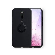 Silikon Hülle Handyhülle Ultra Dünn Schutzhülle Flexible Tasche Silikon mit Magnetisch Fingerring Ständer T07 für Xiaomi Mi 9T Pro Schwarz