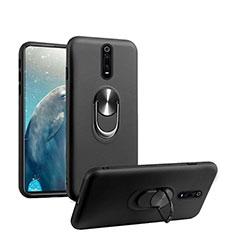 Silikon Hülle Handyhülle Ultra Dünn Schutzhülle Flexible Tasche Silikon mit Magnetisch Fingerring Ständer T08 für Xiaomi Mi 9T Pro Schwarz