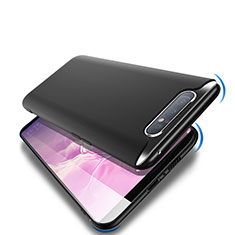 Silikon Hülle Handyhülle Ultra Dünn Schutzhülle S02 für Samsung Galaxy A80 Schwarz