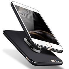 Silikon Hülle Handyhülle Ultra Dünn Schutzhülle Silikon mit Fingerring Ständer A02 für Apple iPhone 5 Schwarz