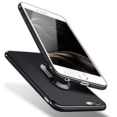 Silikon Hülle Handyhülle Ultra Dünn Schutzhülle Silikon mit Fingerring Ständer A02 für Apple iPhone 5S Schwarz