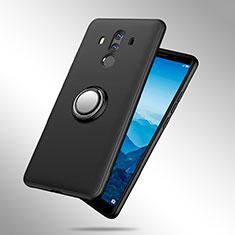 Silikon Hülle Handyhülle Ultra Dünn Schutzhülle Silikon mit Fingerring Ständer A02 für Huawei Mate 10 Pro Schwarz