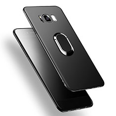Silikon Hülle Handyhülle Ultra Dünn Schutzhülle Silikon mit Fingerring Ständer A02 für Samsung Galaxy S8 Plus Schwarz