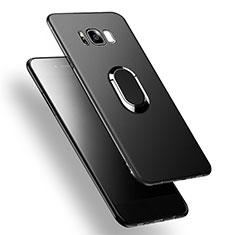 Silikon Hülle Handyhülle Ultra Dünn Schutzhülle Silikon mit Fingerring Ständer A02 für Samsung Galaxy S8 Schwarz