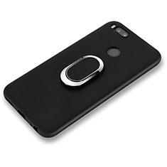 Silikon Hülle Handyhülle Ultra Dünn Schutzhülle Silikon mit Fingerring Ständer A02 für Xiaomi Mi 6 Schwarz