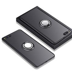 Silikon Hülle Handyhülle Ultra Dünn Schutzhülle Silikon mit Fingerring Ständer A02 für Xiaomi Mi Note 3 Schwarz