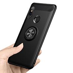 Silikon Hülle Handyhülle Ultra Dünn Schutzhülle Silikon mit Fingerring Ständer A02 für Xiaomi Redmi Note 5 Pro Schwarz