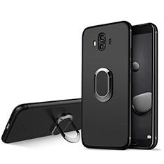 Silikon Hülle Handyhülle Ultra Dünn Schutzhülle Silikon mit Fingerring Ständer A04 für Huawei Mate 10 Schwarz