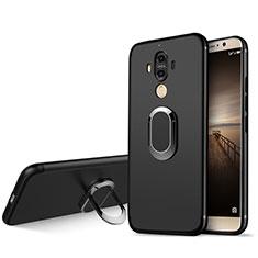 Silikon Hülle Handyhülle Ultra Dünn Schutzhülle Silikon mit Fingerring Ständer A04 für Huawei Mate 9 Schwarz