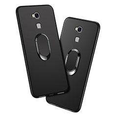 Silikon Hülle Handyhülle Ultra Dünn Schutzhülle Silikon mit Fingerring Ständer für Huawei Honor 5X Schwarz