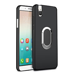 Silikon Hülle Handyhülle Ultra Dünn Schutzhülle Silikon mit Fingerring Ständer für Huawei Honor 7i shot X Schwarz
