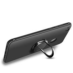 Silikon Hülle Handyhülle Ultra Dünn Schutzhülle Silikon mit Fingerring Ständer für Huawei Honor 8 Lite Schwarz