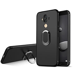 Silikon Hülle Handyhülle Ultra Dünn Schutzhülle Silikon mit Fingerring Ständer für Huawei Mate 10 Pro Schwarz