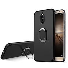 Silikon Hülle Handyhülle Ultra Dünn Schutzhülle Silikon mit Fingerring Ständer für Huawei Mate 9 Pro Schwarz