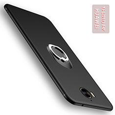 Silikon Hülle Handyhülle Ultra Dünn Schutzhülle Silikon mit Fingerring Ständer für Huawei Y6 (2017) Schwarz