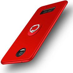 Silikon Hülle Handyhülle Ultra Dünn Schutzhülle Silikon mit Fingerring Ständer für Motorola Moto Z Play Rot