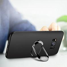 Silikon Hülle Handyhülle Ultra Dünn Schutzhülle Silikon mit Fingerring Ständer für Samsung Galaxy S8 Schwarz