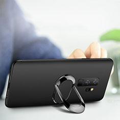 Silikon Hülle Handyhülle Ultra Dünn Schutzhülle Silikon mit Fingerring Ständer für Samsung Galaxy S9 Plus Schwarz