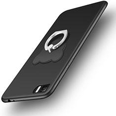 Silikon Hülle Handyhülle Ultra Dünn Schutzhülle Silikon mit Fingerring Ständer für Xiaomi Mi 3 Schwarz