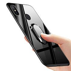 Silikon Hülle Handyhülle Ultra Dünn Schutzhülle Silikon mit Fingerring Ständer für Xiaomi Mi Mix 2S Schwarz