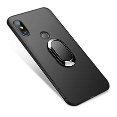 Silikon Hülle Handyhülle Ultra Dünn Schutzhülle Silikon mit Fingerring Ständer für Xiaomi Redmi Note 5 AI Dual Camera Schwarz