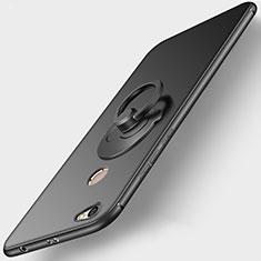 Silikon Hülle Handyhülle Ultra Dünn Schutzhülle Silikon mit Fingerring Ständer für Xiaomi Redmi Note 5A High Edition Schwarz