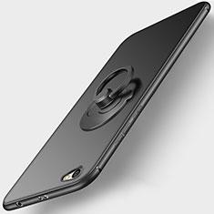 Silikon Hülle Handyhülle Ultra Dünn Schutzhülle Silikon mit Fingerring Ständer für Xiaomi Redmi Note 5A Standard Edition Schwarz