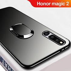 Silikon Hülle Handyhülle Ultra Dünn Schutzhülle Silikon mit Magnetisch Fingerring Ständer A02 für Huawei Honor Magic 2 Schwarz