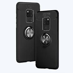 Silikon Hülle Handyhülle Ultra Dünn Schutzhülle Silikon mit Magnetisch Fingerring Ständer A02 für Huawei Mate 20 Schwarz