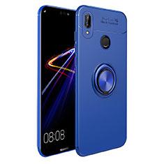 Silikon Hülle Handyhülle Ultra Dünn Schutzhülle Silikon mit Magnetisch Fingerring Ständer A02 für Huawei P Smart+ Plus Blau