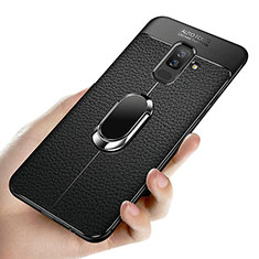 Silikon Hülle Handyhülle Ultra Dünn Schutzhülle Silikon mit Magnetisch Fingerring Ständer A02 für Samsung Galaxy A6 Plus (2018) Schwarz