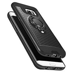 Silikon Hülle Handyhülle Ultra Dünn Schutzhülle Silikon mit Magnetisch Fingerring Ständer A02 für Samsung Galaxy S7 Edge G935F Schwarz