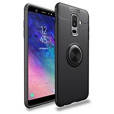 Silikon Hülle Handyhülle Ultra Dünn Schutzhülle Silikon mit Magnetisch Fingerring Ständer A03 für Samsung Galaxy A6 Plus (2018) Schwarz
