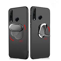 Silikon Hülle Handyhülle Ultra Dünn Schutzhülle Silikon mit Magnetisch Fingerring Ständer für Huawei Enjoy 9s Schwarz