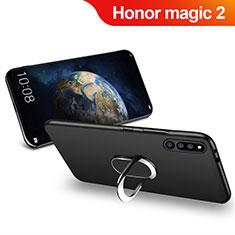 Silikon Hülle Handyhülle Ultra Dünn Schutzhülle Silikon mit Magnetisch Fingerring Ständer für Huawei Honor Magic 2 Schwarz